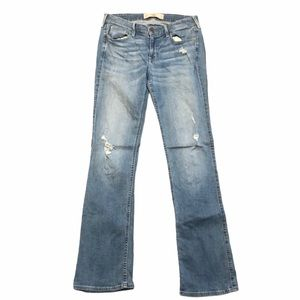 Hollister Distressed Light Wash Boot Cut Jeans